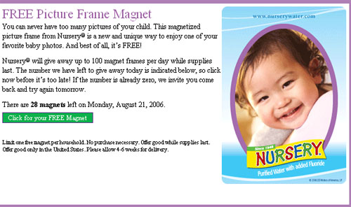 Free Nursery picture frame magnet