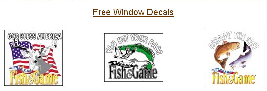 Free Window Decal Stickers from Texas Fish & Game