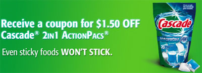 Coupons for $1.50 off Cascade 2 in 1 Action Pacs