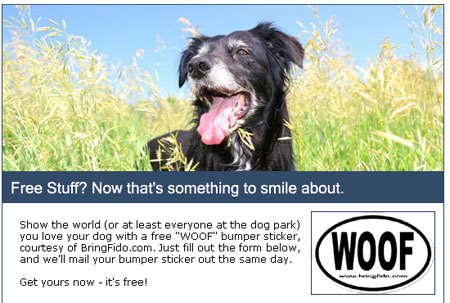 Free bumper sticker and trial issue of Fido Friendly