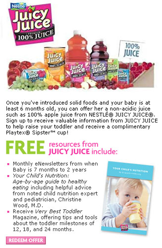 Free Playtex sipster from Juicy Juice