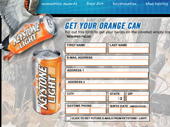 Free Collectible Orange Keystone Light Can - Must be over 21