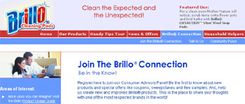 Brillo special offers like coupons, sweepstakes and free samples