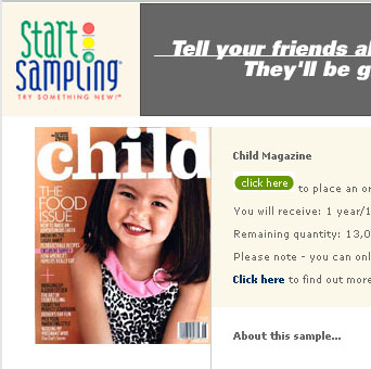 Free subscription to Child Magazine
