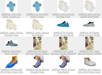 Free Samples of Vinyl Gloves, Latex Gloves, Anti-Skid Shoe Covers