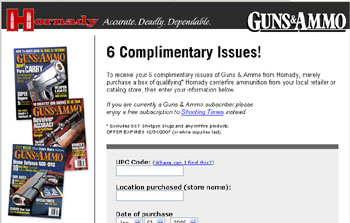 Free 6 month subscription to Guns & Ammo