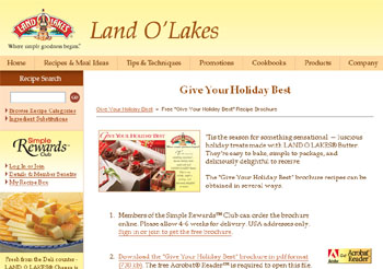 "Free Land O' Lakes ""Give Your Holiday Best� Brochure Recipes"