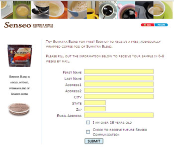 Free Senseo Coffee Sumatra Blend Sample