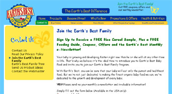 Earth's Best Organic Baby Food Free Rice Cereal Sample