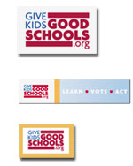 Free Give Kids Good Schools Bookmarks, Stickers and Window Decal