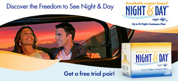 Free sample of NIGHT & DAY® contact lenses