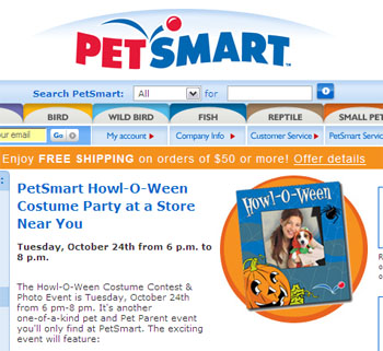 Free Howl-O-Ween collar charms for the 1st 100 pets @ PetSmart on Tues 10/24, 6-8pm