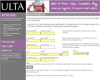Free 10 piece Cosmetic Bag from ULTA