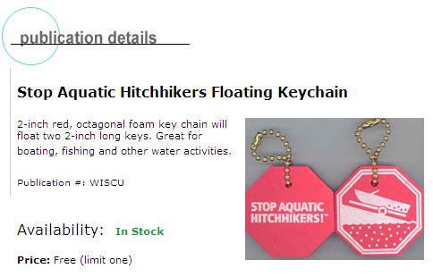 Free Stop Aquatic Hitchhikers Floating Keychain