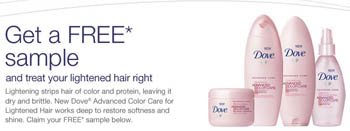 Dove For Lightened Hair color care samples