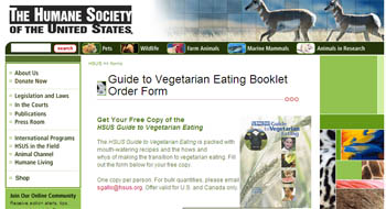 Free Guide to Vegetarian Eating Cookbook and info