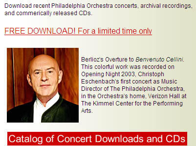 Free Philadelphia Orchestra recording MP3 download - Berlioz's Overture to Benvenuto Cellini