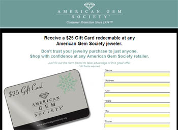 Free $25 Gift Card redeemable at any American Gem Society jeweler
