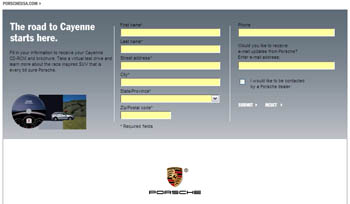 Free Porsche Cayenne CD-ROM and Brochure