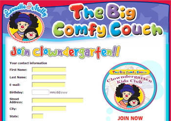 Free Autographed Photo, Activity & Coloring Pages and Sticker Sheet from The Big Comfy Couch Clowndergarten Kids Club