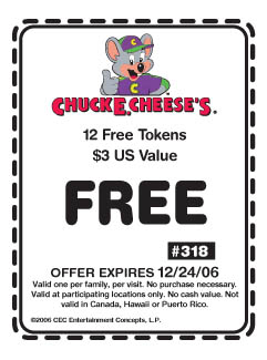 Free 12 token coupon for Chuck E Cheese's