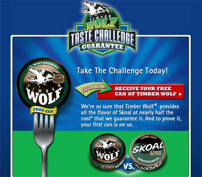 Free can of timberwolf moist smokeless tobacco