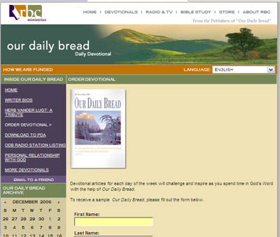 Free sample Our Daily Bread Book