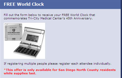 Free World Clock San Diego Residents only