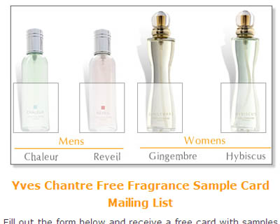 Free Yves Chantre Fragrance Sample Card
