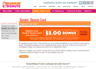 Free $2 increase on your Dunkin Donuts card