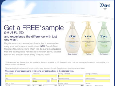 Free 3 oz Dove Deep Moisture Nourishing Hand Wash