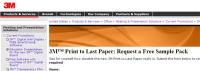 "3Mâ""¢ Print to Last Paper: Request a Free Sample Pack"