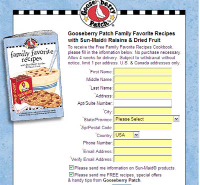 Free Family Favorite Recipes Cookbook from Gooseberry Patch