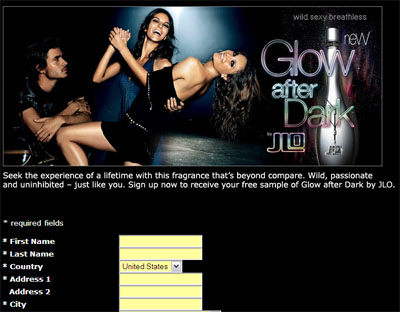 Free Glow After Dark by JLO Fragrance Sample