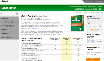 QuickBooks - Simple Start Free Starter Edition 2007 (free download)