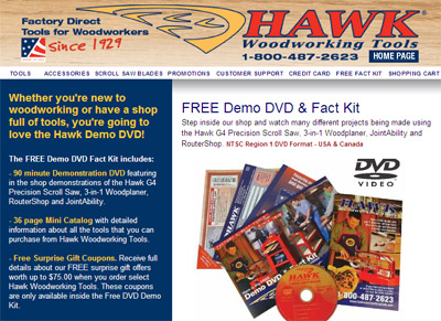 Free Demo DVD & Fact Kit from Hawk Woodworking Tools