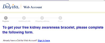Free Kidney Awareness Bracelet