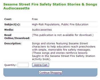 Free Sesame Street Fire Safety Station Stories & Songs Audiocassette