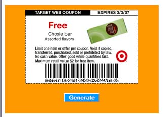 Printable Free Choxie Candy Bar Coupon for Target