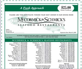 McCormick and Schmick's seafood restaurant free 25$ gift certificate PRINT OUT