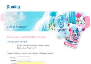 Free Sample of Ultra Downy ExperientialsTM Tahitian Waterfall or April Fresh!