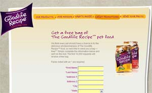 Free Bag of Goodlife Recipe Dog or Cat Food First 10,000
