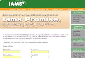 Free 4 lb. bag of IAMS Dog or Cat Food
