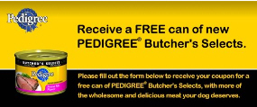 Free Can of Pedigree Butcher's Select Dog Food
