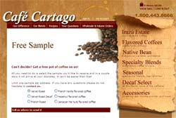 Free Cafe Cartago Coffee Sample