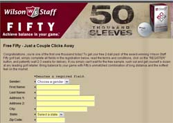 Free Two pack of Wilson Staff Fifty Golf Balls