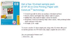 Free 10-sheet sample pack of HP All-in-One Printing Paper with ColorLok