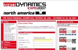 Detroit - Vehicle Dynamics Expo North America 2007 free pass