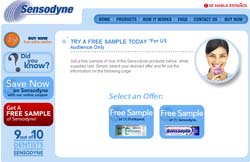 Free sample of one of the Sensodyne products