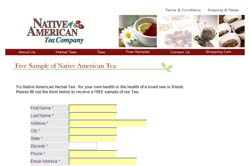 Free Native American Herbal Tea Samples